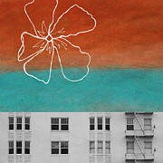 Blue Flower Posters - Fire Escapes Poster by Linda Woods