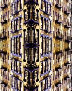New York Digital Art Metal Prints - Fire Escapes - New York City Metal Print by Linda  Parker