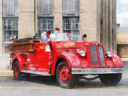 Fire Engines Posters - Fire Fighters - Vintage Fire Truck Poster by Susan Savad