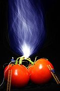 Vegetables Digital Art Prints - Fire fighting on tomatoes Little People On Food Print by Paul Ge