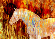 Stylized Photography Posters - Fire Horse Poster by Judy Wood