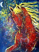 Expressionist Equine Framed Prints - Fire Horse Framed Print by Relly Peckett