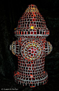 Dog Glass Art Posters - Fire Hydrant Art Poster by Susan Herber