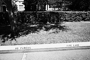 Fire Hydrant No Parking Fire Lane Curb In Residential Area Of Celebration Florida Us Print by Joe Fox