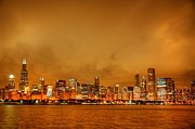 City Skylines Posters - Fire in a Chicago Night Sky Poster by Ken Smith