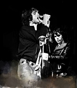 Hall Of Fame Drawings Framed Prints - Fire In A Storm  Jim Morrison Framed Print by Iconic Images Art Gallery David Pucciarelli