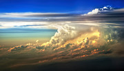 Thunderstorm Prints - Fire in the Sky from 35000 Feet Print by Scott Norris