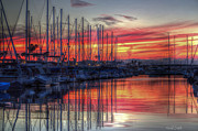 Yacht Photos - Fire In The Sky by Heidi Smith