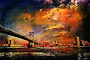 Brooklyn Bridge Mixed Media Framed Prints - Fire in the sky Framed Print by Leon Pinkney