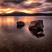 Scottish Landscape Print Framed Prints - Fire in the sky Loch Lomond Framed Print by John Farnan