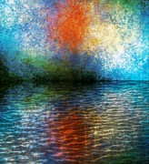 Reflection In Water Digital Art Posters - Fire In The Sky Poster by Melissa Bittinger