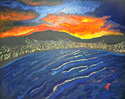 Post-impressionism Paintings - Fire in the Sky by Roberto Tapia