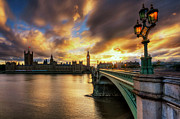 Palace Of Westminster Prints - Fire In The Sky Print by Yhun Suarez