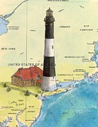 East Coast Lighthouse Paintings - Fire Island Lighthouse NY Nautical Chart Map Art Cathy Peek by Cathy Peek