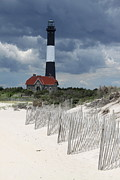 Fire Island Lighthouse With Beachview Print by Christiane Schulze Art And Photography