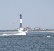Art In Acrylic Framed Prints - Fire Island Lighthouse With Boat Racing By #3 of 4 Framed Print by John Telfer
