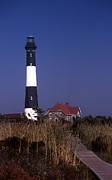 York Beach Metal Prints - Fire Island Ny Lighthouse Metal Print by Skip Willits