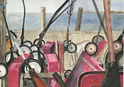 Long Island Paintings - Fire Island Wagon Parking by Sheryl Heatherly Hawkins