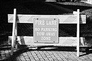 No Parking Prints - Fire Lane No Parking Tow-away Zone Road Barrier Islamorada Florida Keys Usa Print by Joe Fox