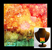 Ocean Jewelry Prints - Fire Necklace Print by Alene Sirott-Cope