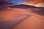 Early Morning Prints - Fire On Mesquite Dunes Print by Darren  White