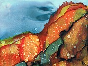 Alcohol Ink Posters - Fire on the Mountain Poster by Christine Crawford