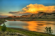 Gunnison Prints - Fire Over Blue Mesa Print by Adam Jewell