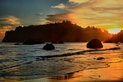 Trinidad Prints - Fire Over Trinidad Beach Print by Adam Jewell