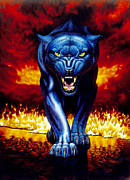 Prowling Posters - Fire Panther Poster by MGL Studio - Chris Hiett