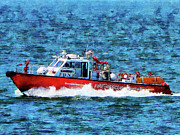 Hose Framed Prints - Fire Rescue Boat Framed Print by Susan Savad