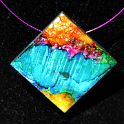 Ocean Jewelry Prints - Fire Sky Necklace Print by Alene Sirott-Cope