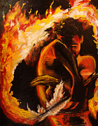 Samoan Paintings - Fire Spin by Donna Chaasadah