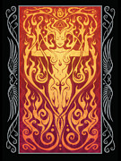 Sacred Digital Art Metal Prints - Fire Spirit v.2 Metal Print by Cristina McAllister