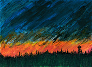 Canadian Geese Paintings - Fire Tower - Sentinel of the North by R Kyllo