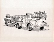 Baltimore Drawings Metal Prints - Fire Truck Company Two Metal Print by Calvert Koerber