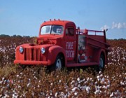 Alabama Posters - Fire Truck in the cotton field Poster by Michael Thomas