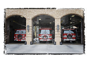 Fire Trucks At The Lafd Fire Station Are Decorated For Christmas Print by Nina Prommer