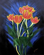Bill Manson Paintings - Fire Tulips by Bill Manson