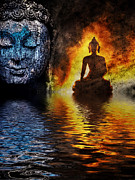 Golden Glow Framed Prints - Fire water Buddha Framed Print by Tim Gainey