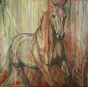 Abstract Horse Paintings - Fire Within by Silvana Gabudean