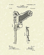 Pistol Drawings Posters - Firearm 1904 Patent Art Poster by Prior Art Design