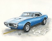 Car Pastels Prints - Firebird Print by Heather Gessell