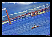 Blake Richards Framed Prints - Fireboat and the Goldon Gate Bridge Framed Print by Blake Richards