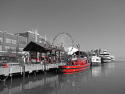 Fireboat Framed Prints - Fireboat at Chicago Navy Pier Framed Print by Rick Polad