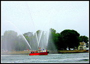 Fireboat Framed Prints - Fireboat Water Show on Long Island Sound Framed Print by Dora Sofia Caputo