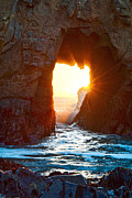 Fireburst - Arch Rock In Pfeiffer Beach In Big Sur. Print by Jamie Pham