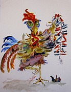 Fourth Of July Painting Originals - FireCracker Rooster by Delilah  Smith