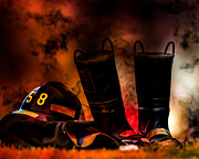 Helmet Photo Metal Prints - Firefighter Metal Print by Bob Orsillo