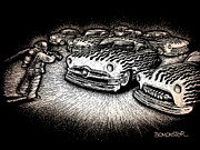 Scratchboard Drawings - Firefighter by Bomonster