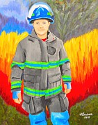 Fire Gear Paintings - Firefighter by Nina Stephens